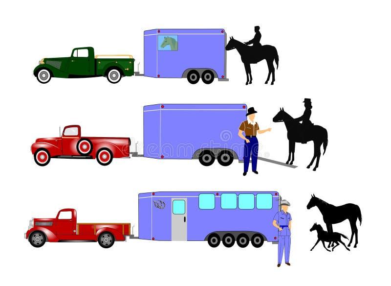 Paarden en cowboys royalty-vrije illustratie
