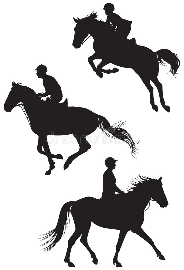 Paarden en ruiters stock illustratie