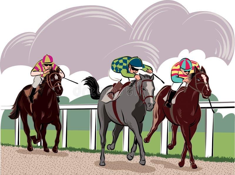 Paarden en ruiters vector illustratie