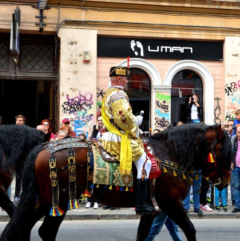 Paarden en ruiters tijdens de parade van Brasov Juni royalty-vrije stock afbeelding