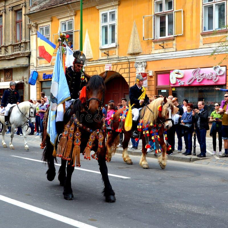 Paarden en ruiters tijdens de parade van Brasov Juni stock foto