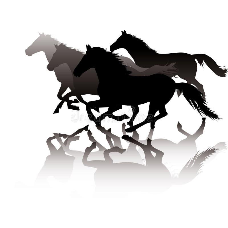 Paarden in galop royalty-vrije illustratie