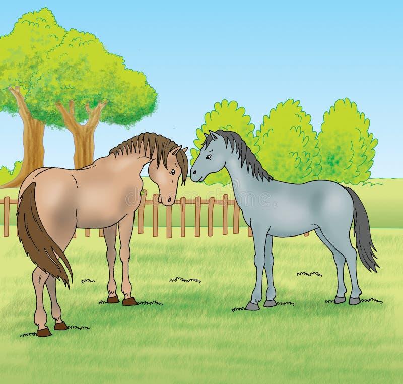 Paarden in het landbouwbedrijf stock illustratie