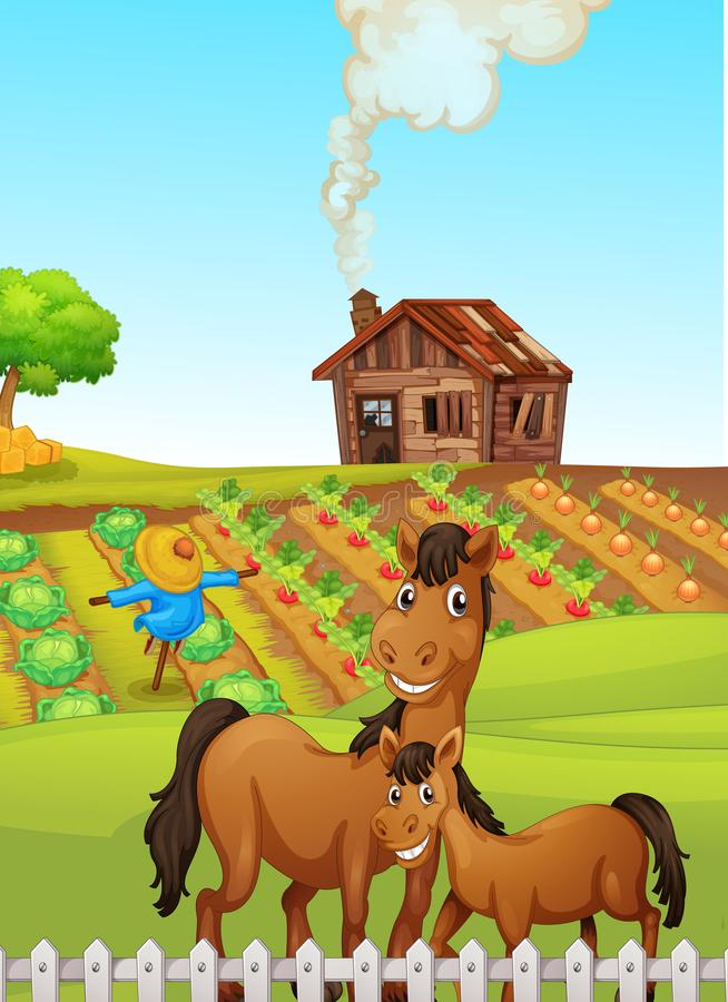 Paarden in landbouwbedrijfscène royalty-vrije illustratie