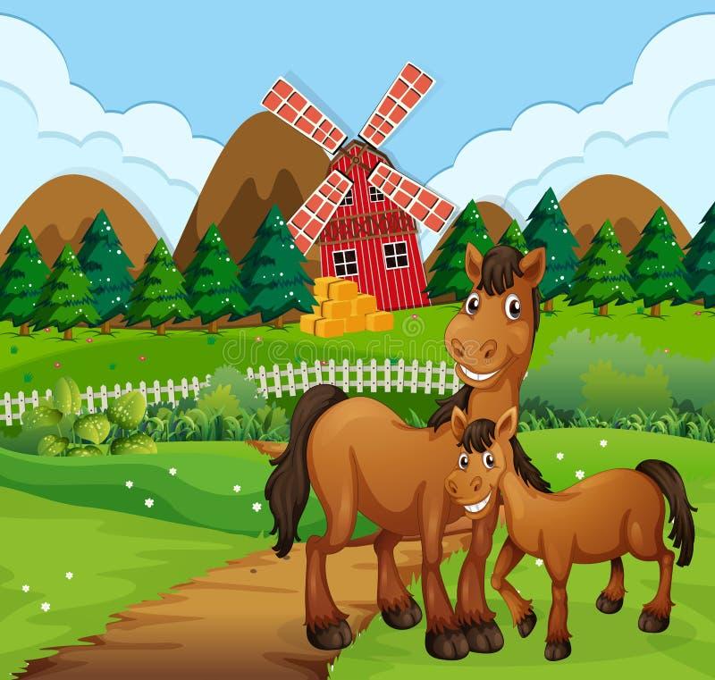 Paarden in landbouwbedrijfsc?ne stock illustratie