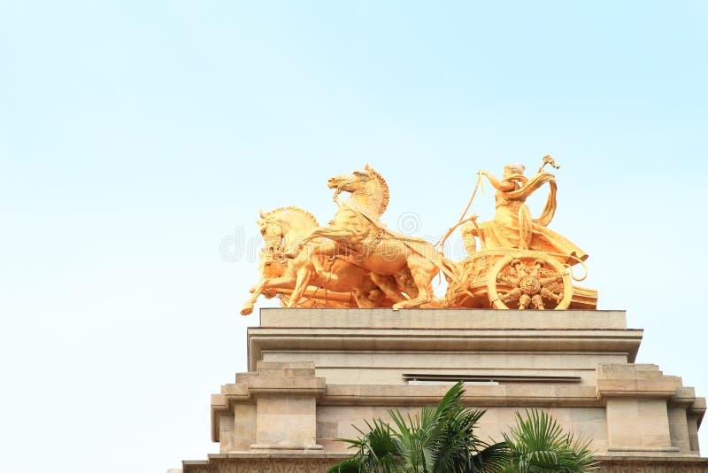Paarden van Cascada Monumentaal in Barcelona stock afbeelding