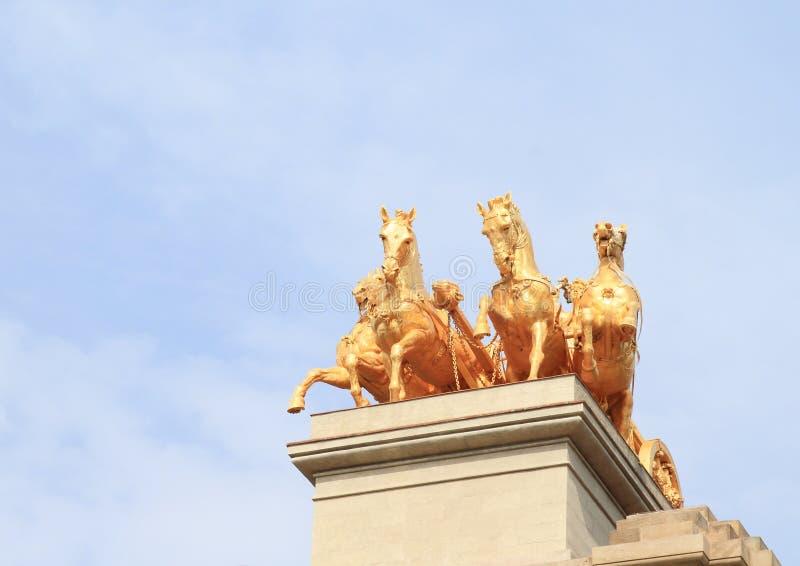 Paarden van Cascada Monumentaal in Barcelona royalty-vrije stock foto's