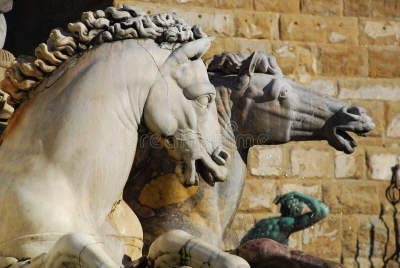 Paarden van het Standbeeld van Neptunus, Florence 1 royalty-vrije stock foto