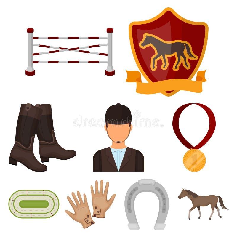 Paardenrennen en het uitrusten van ruiters Renbaan en paardpictogram in vastgestelde inzameling op beeldverhaal royalty-vrije illustratie