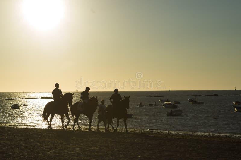 Paardenrennen op de stranden van Sanlucar royalty-vrije stock afbeelding
