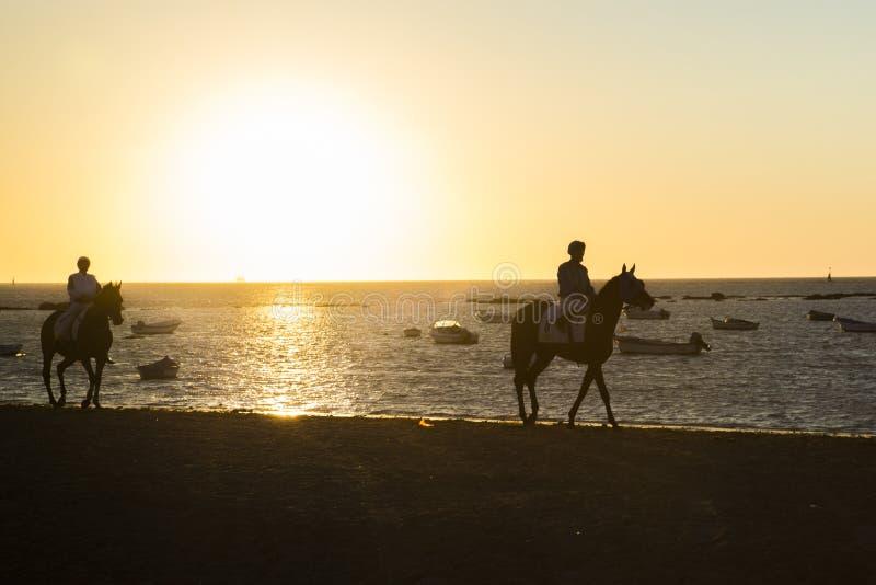 Paardenrennen op de stranden van Sanlucar royalty-vrije stock foto