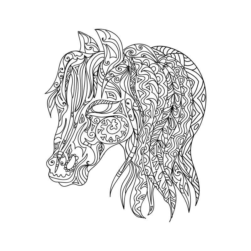 Kleurplaat Mandela Paarden Paardhoofd Zentangle Stock Illustratie Illustratie
