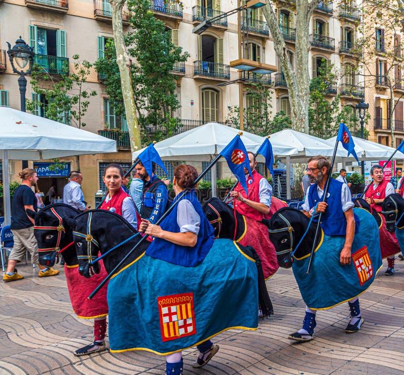 Paardkarakters in Barcelona royalty-vrije stock fotografie