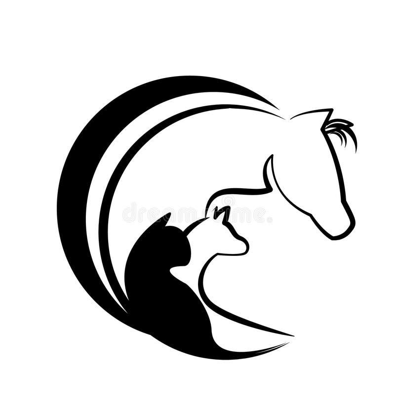 Paardkat en hond gestileerd embleem stock illustratie