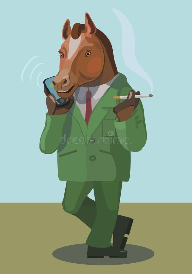 Paardmens die en op de telefoon roken spreken royalty-vrije illustratie