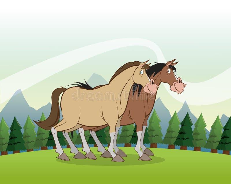 Paardpictogram Landschapsachtergrond Grafische vector vector illustratie
