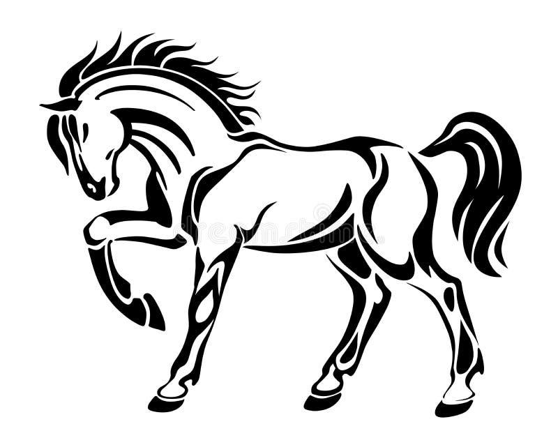 Paardtatoegering - gestileerd grafisch vector abstract beeld vector illustratie
