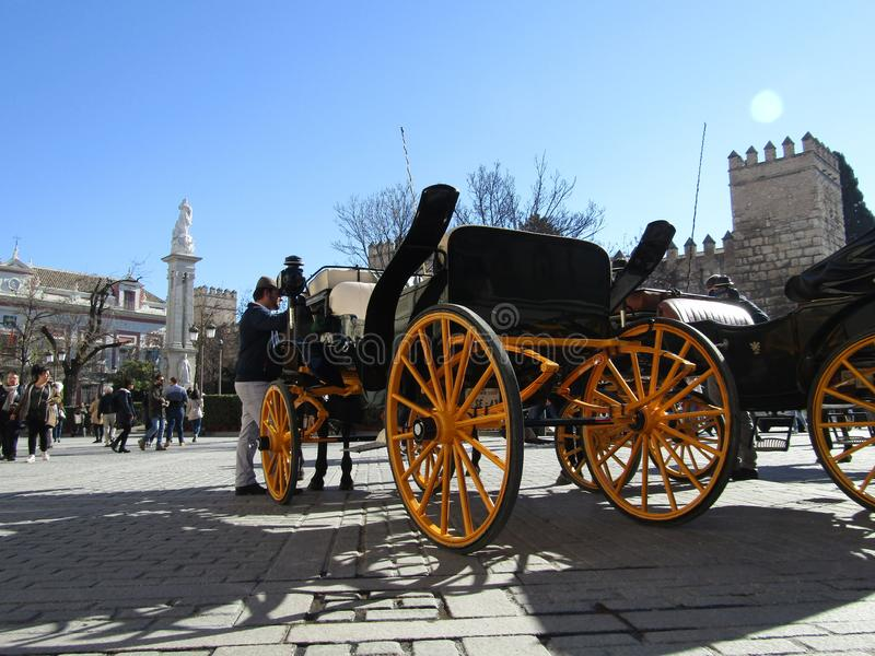 Paardvervoer in Sevilla, Spanje stock foto's