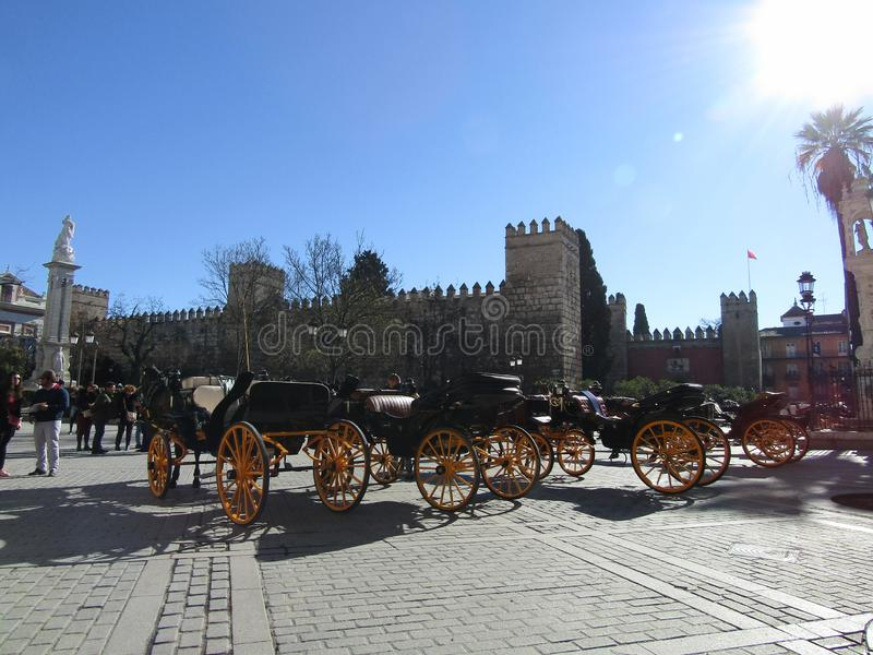 Paardvervoer in Sevilla, Spanje stock foto