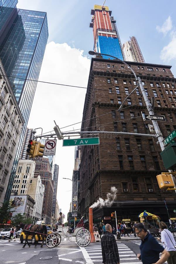 Paardvervoer in Zevende Weg, de Stad van New York, de V.S. stock fotografie