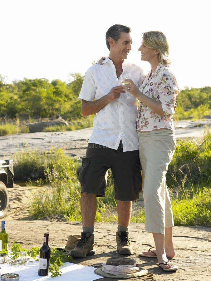 Paare auf dem Picknick, das Wein röstet stockfotos