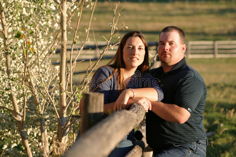 Paare auf dem Zaun stockfotos