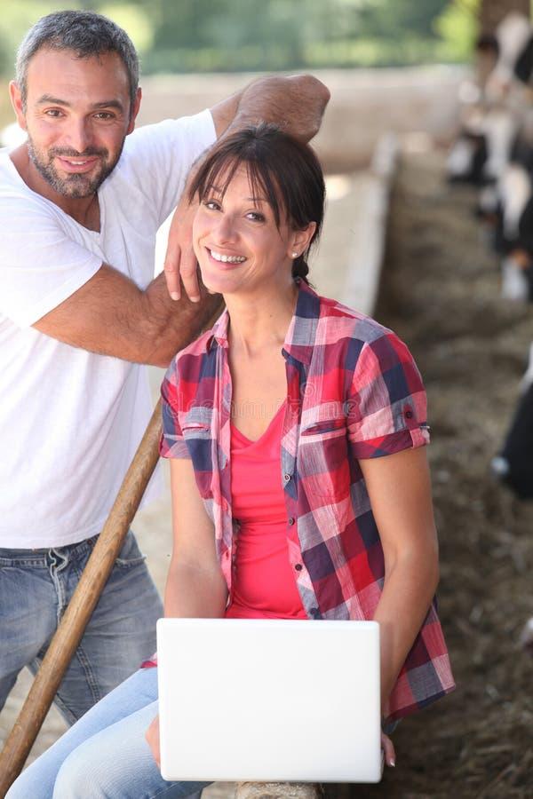 Paare auf einem Bauernhof stockfoto