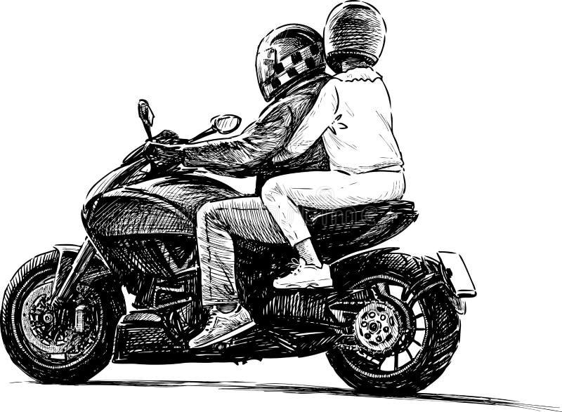 Paare auf einem Motorrad stock abbildung