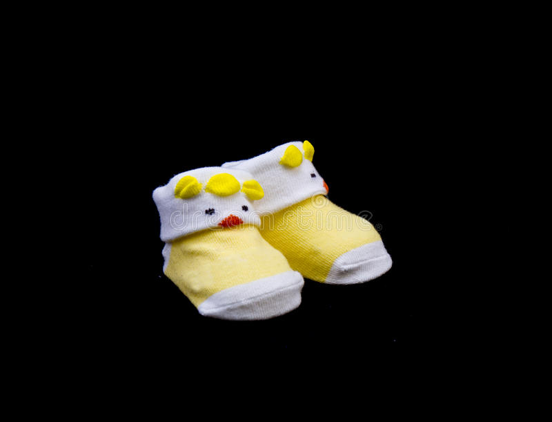 Paare Babysocken-Gelbfarbe stockfoto