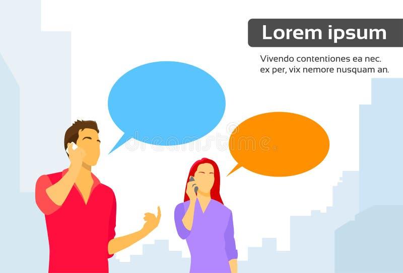 Paare bemannen und Frauen-intelligenter Telefon-Gesprächs-Chat-Kasten vektor abbildung