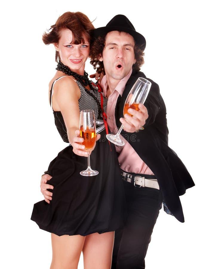 Paare bemannen und Mädchen mit Weintanz. lizenzfreies stockfoto