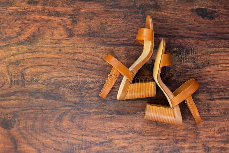 Paare brauner lederner Sommerfrauen ` s Sandaletten lizenzfreies stockfoto