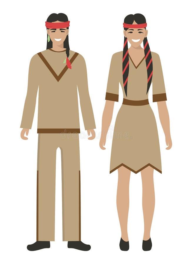 Paare der amerikanischen Ureinwohner lizenzfreie abbildung