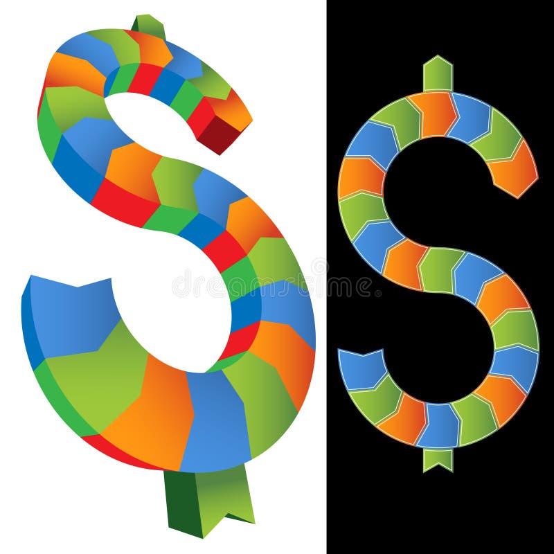 Paare der bunten Dollar-Zeichen vektor abbildung