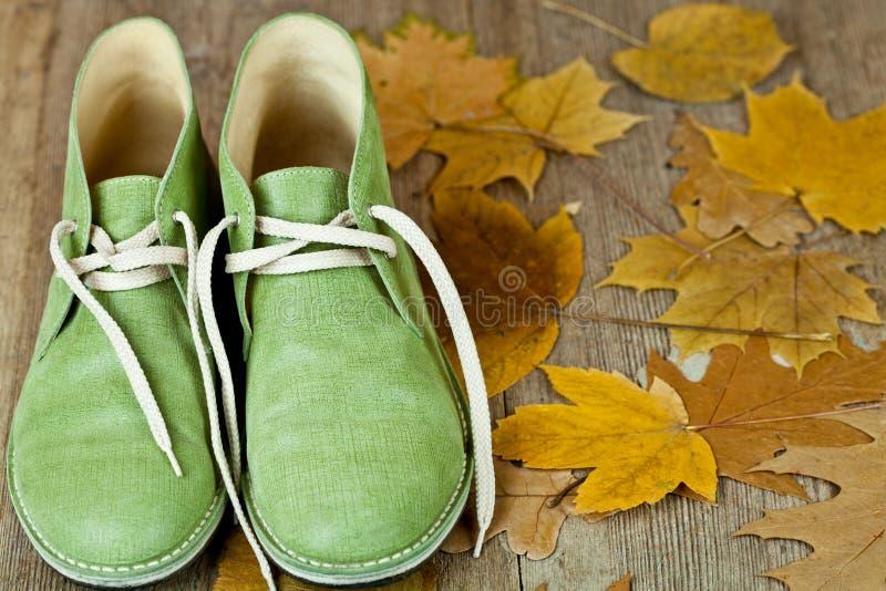 Paare der grünen ledernen Matten und der Gelbblätter stockfotos