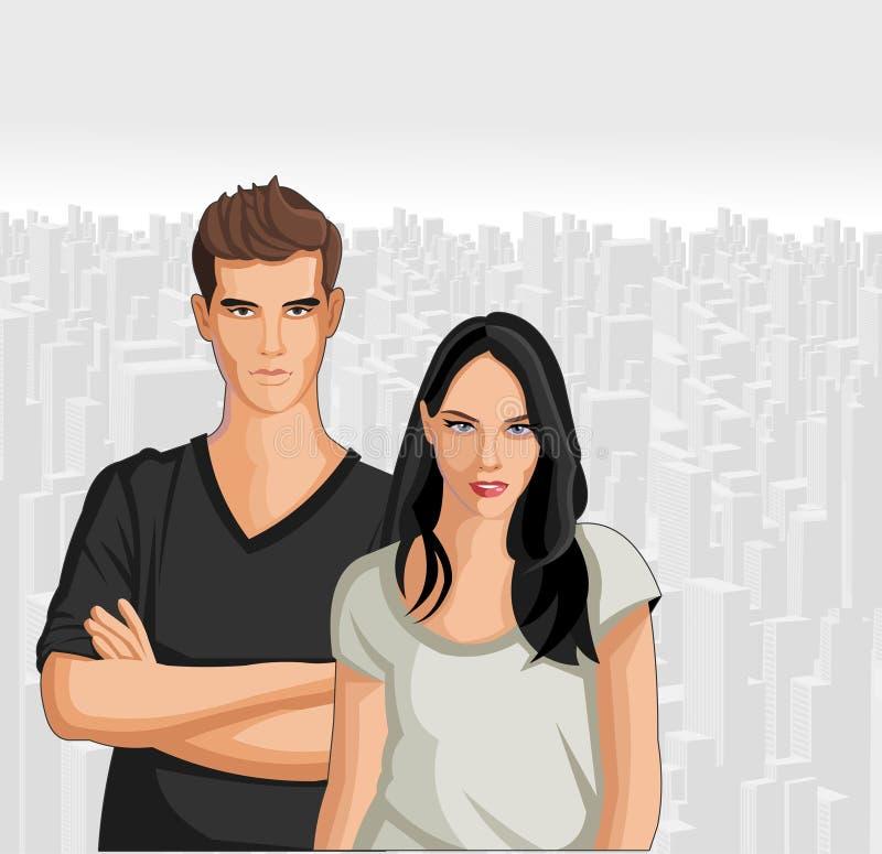 Paare der Jugendlicher lizenzfreie abbildung
