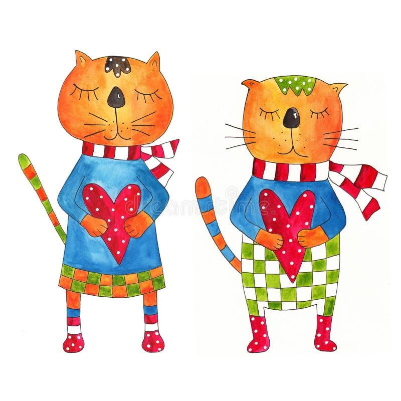 Paare der Katzen. Grußkarte stock abbildung