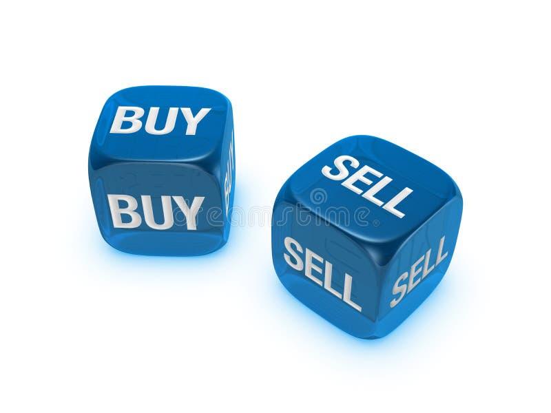 Paare der lichtdurchlässigen blauen Würfel mit Kauf, Verkaufszeichen stockfotos