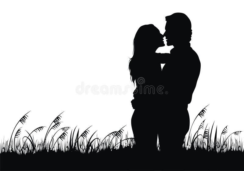 Paare in der Liebe lizenzfreie abbildung