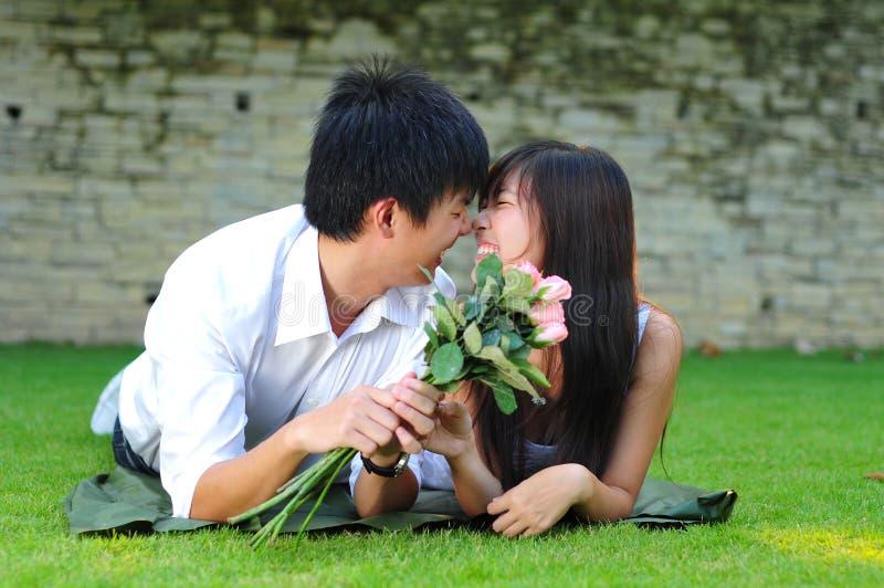 Paare in der Liebe, die auf dem Gras liegt lizenzfreie stockfotos
