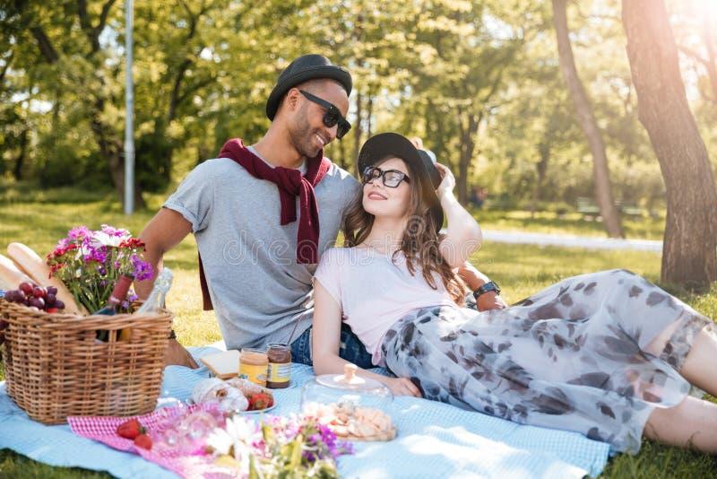 Paare in der Liebe, die Picknick im Park stillsteht und hat lizenzfreies stockbild