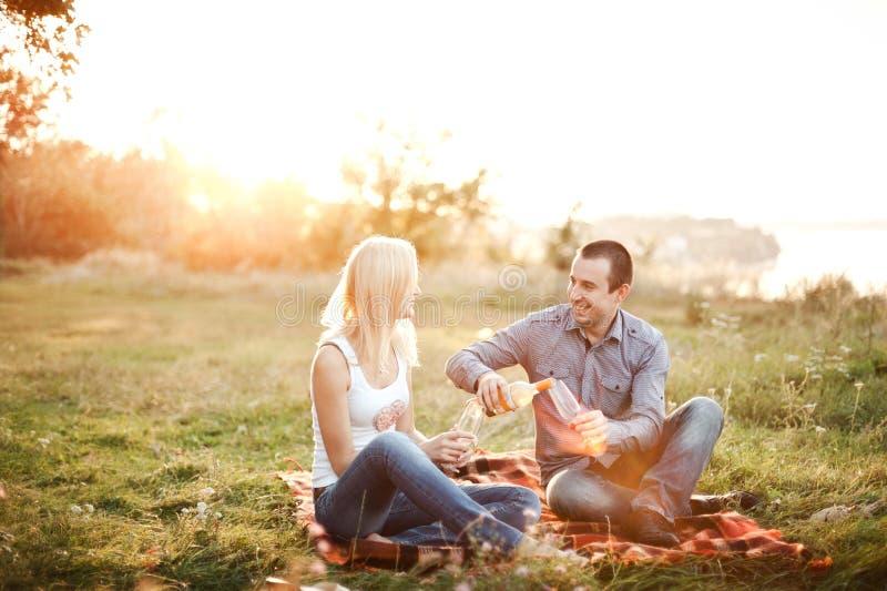 Paare in der Liebe an einem Picknickpark stockfotos