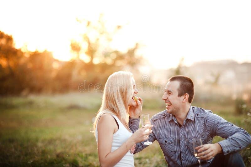Paare in der Liebe an einem Picknickpark lizenzfreies stockbild