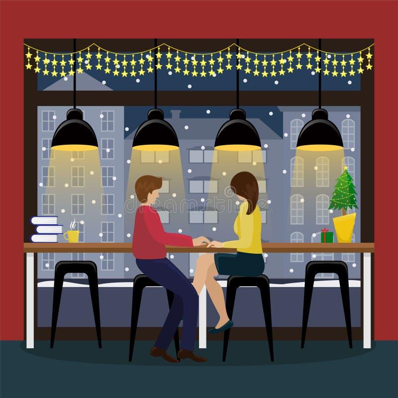 Paare in der Liebe mit Champagner am Stangenzähler am panoramischen Fenster im Kaffeehaus Weihnachtsinnenraum im Café vektor abbildung