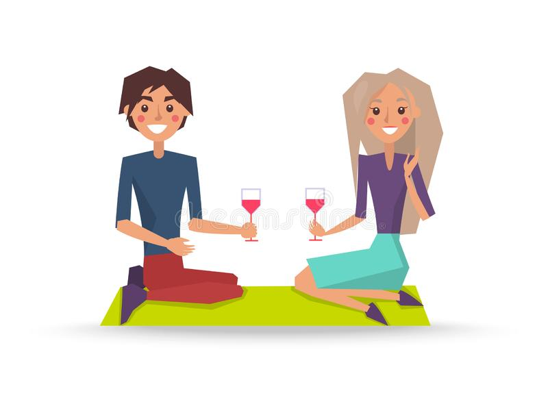 Paare in der Liebe mit Gläsern Rotwein auf Picknick vektor abbildung
