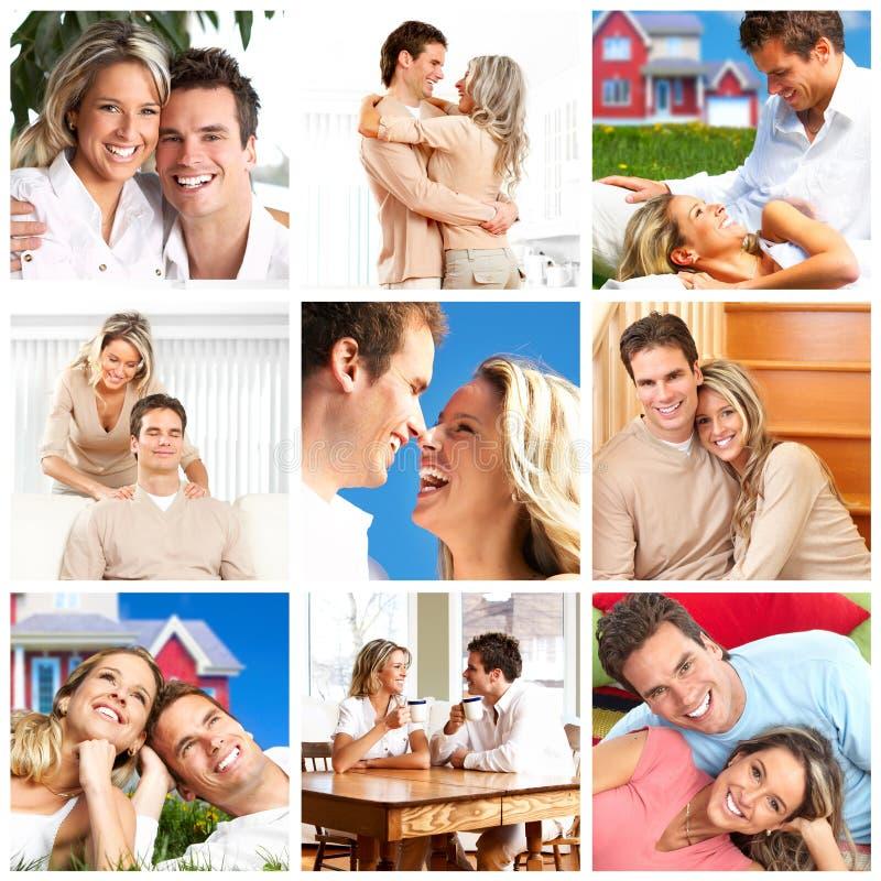 Paare in der Liebe zu Hause stockfotos
