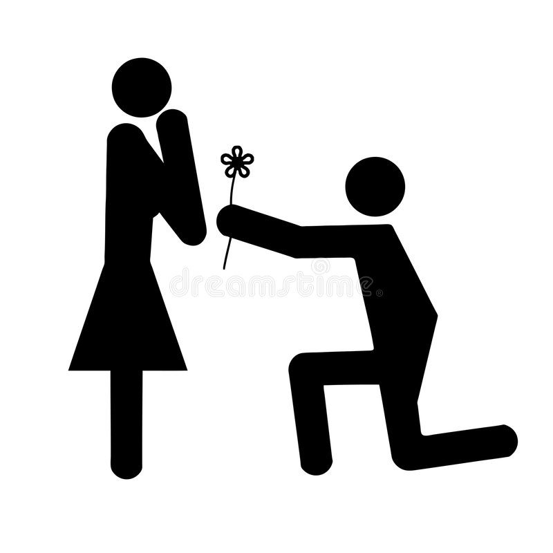 Paare in der Liebesblumengeschenk-vektorabbildung stock abbildung