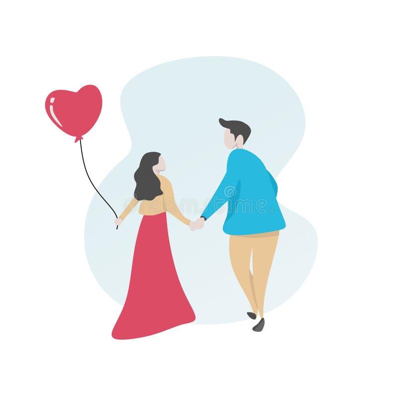 Paare in der Liebesvektorillustration für valentine' nette Zeichentrickfilm-Figur der s-Tageskarten-Fahne vektor abbildung