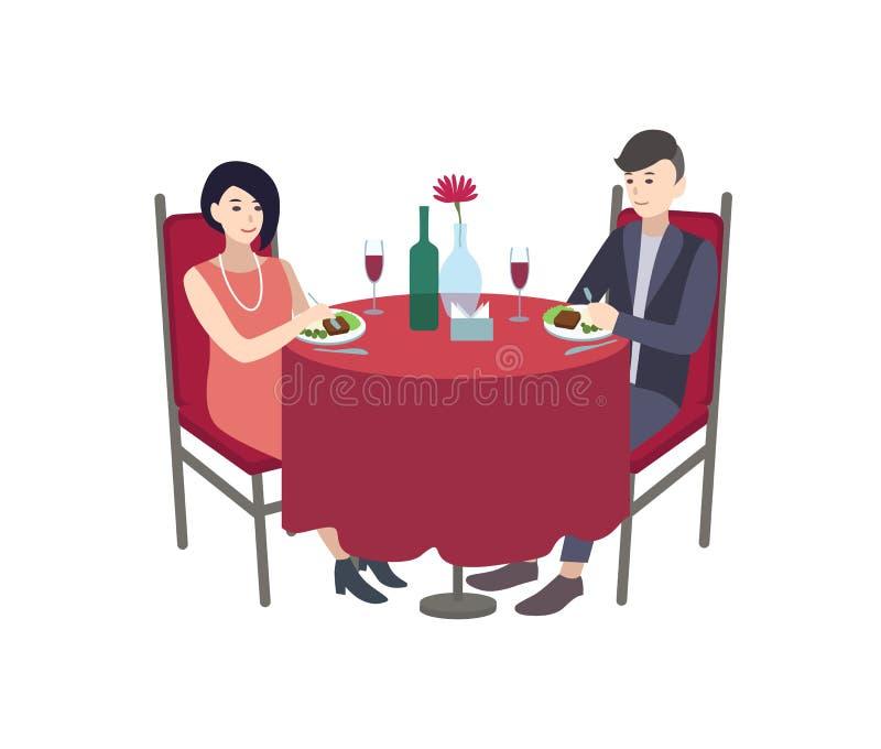 Paare der männlichen und weiblichen Zeichentrickfilm-Figuren kleideten in elegantem an stock abbildung