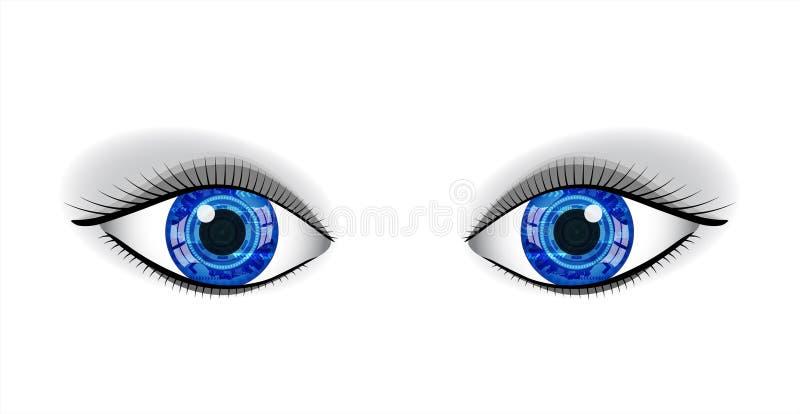 Paare der menschlichen blauen Augen. stock abbildung
